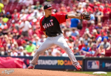 CINCINNATI, OH- JULY 12: Jose Berrios #37 of the World Team pitches during the SiriusXM All-Star Futures Game at the Great American Ball Park on July 12, 2015 in Cincinnati, Ohio. (Photo by Brace Hemmelgarn) *** Local Caption *** Jose Berrios